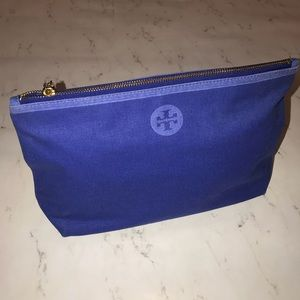 NWT Tory Burch Blue Large Cosmetic MakeUp Case bag